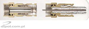 Sectional views of the new and compressed connector