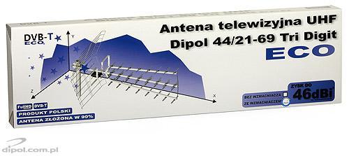 UHF TV Antenna: Dipol 44/21-69 Tri Digit ECO