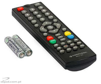 The included remote control and 2 AAA batteries
