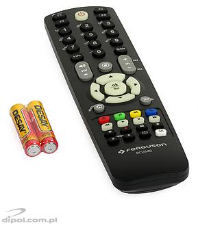 The included remote control and batteries