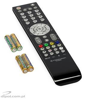 The included remote control and four AAA batteries