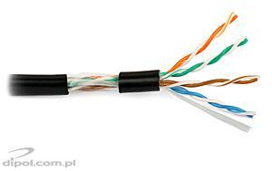 NETSET UTP PE 5e fekete, sodrott kültéri kábel [1m]