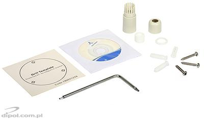 The included accessories, among others, the cable fitting for protecting against water penetration