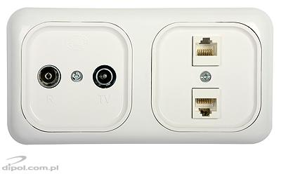 The view of the frame with R62110 and R62141 outlets (to be bought separately)