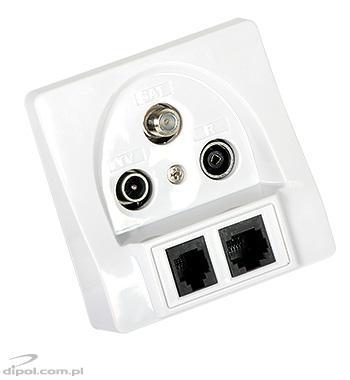 Subscriber Terminal Flush Outlet: Signal TV-FM-SAT / RJ-45 / RJ-11